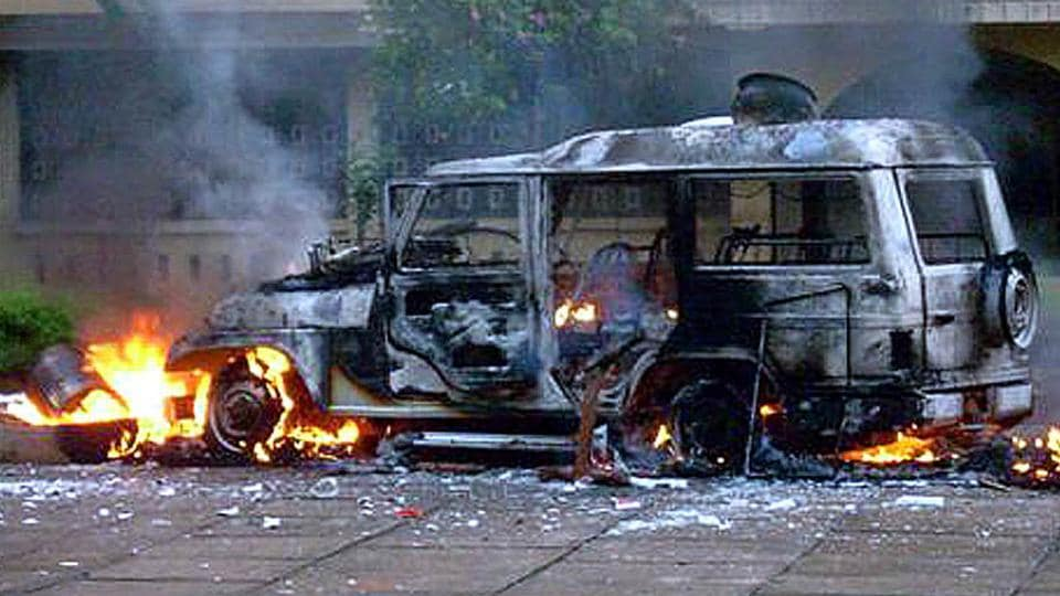 Soon after the accident, residents blocked the National Highway and pelted stones at passing vehicles and torched the vehicle, alleging that the driver was in an inebriated state.