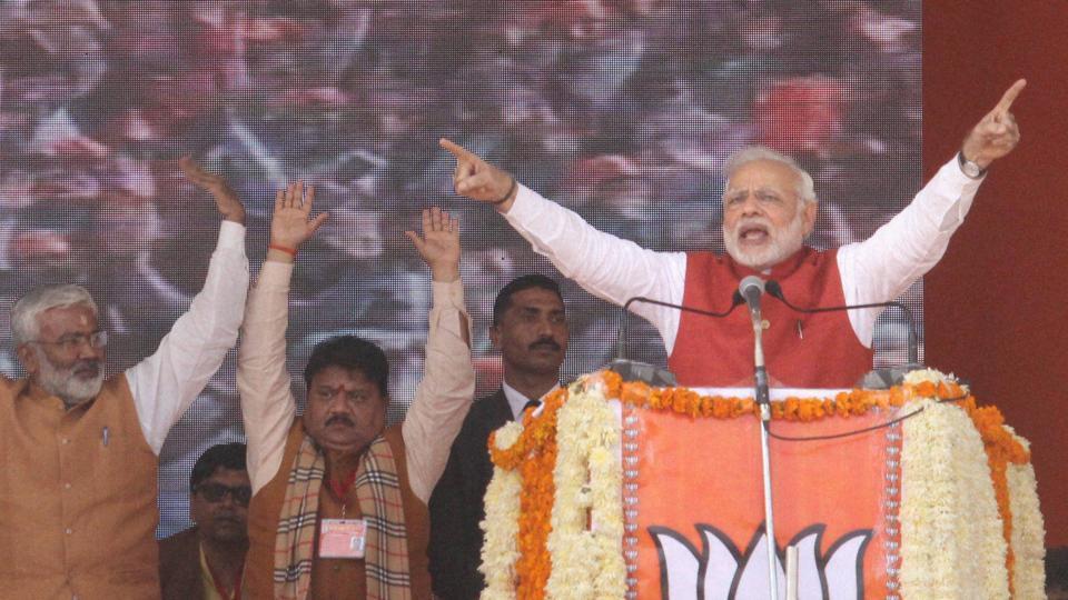 Prime Minister Narendra Modi addresses the BJP Parivartan Rally in Kanpur on Monday.
