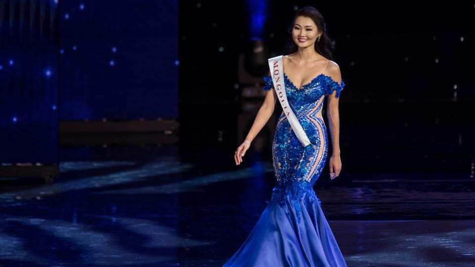 Miss Mongolia Bayartsetseg Altangerel during the pageant's 66th edition. (Zach Gibson/AFP)
