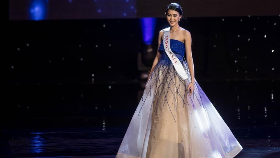 Miss Indonesia Natasha Mannuela, who won the Beauty with a a Purpose title. (Zach Gibson/AFP)