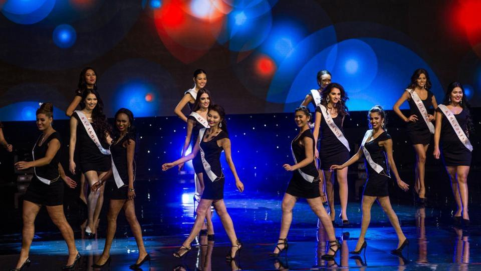 Contestants walk across the stage during the grand final of the Miss World 2016 pageant at the MGM National Harbor in Maryland, USA. (Zach Gibson/AFP)
