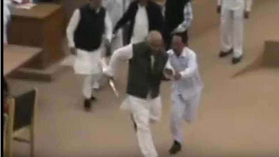 TMC MLA Sudip Roy Barman seized the speaker's mace and ran away with it outside the house abruptly putting a halt to the proceedings.