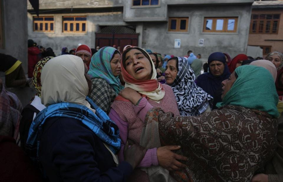 Kashmiri women mourn during the funeral of Qaiser Sofi, a teenager alleged to have died due to police torture, in Srinagar in November.