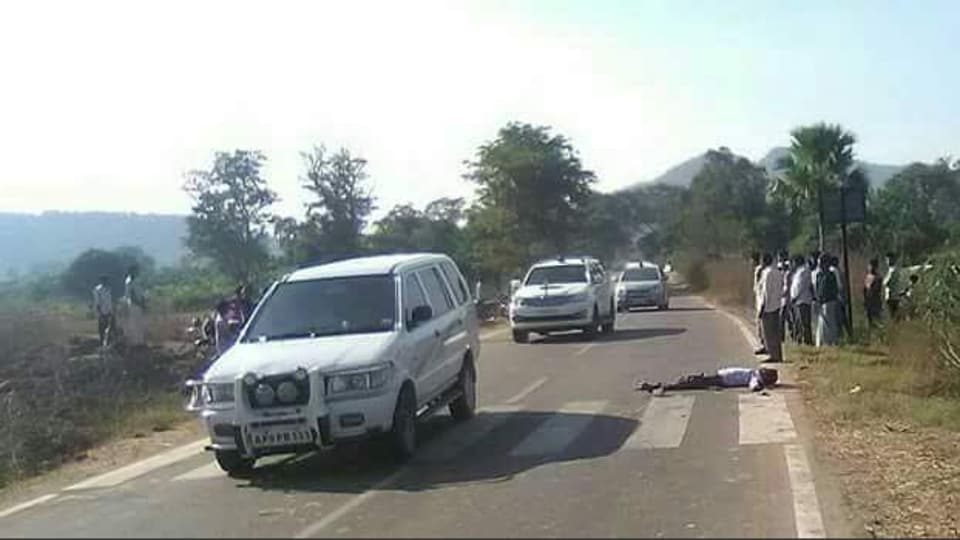 A passerby clicked the picture of the Telangana minister driving past a road accident victim posted it on a WhatsApp group