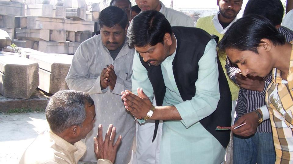 Pawan Pandey campaigning during the 2012 Uttar Pradesh assembly elections in Ayodhya.