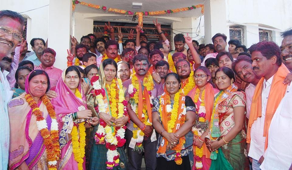 BJP workers celebrate after winning the Gangapur Muncipal council polls in Aurangabad on Monday.