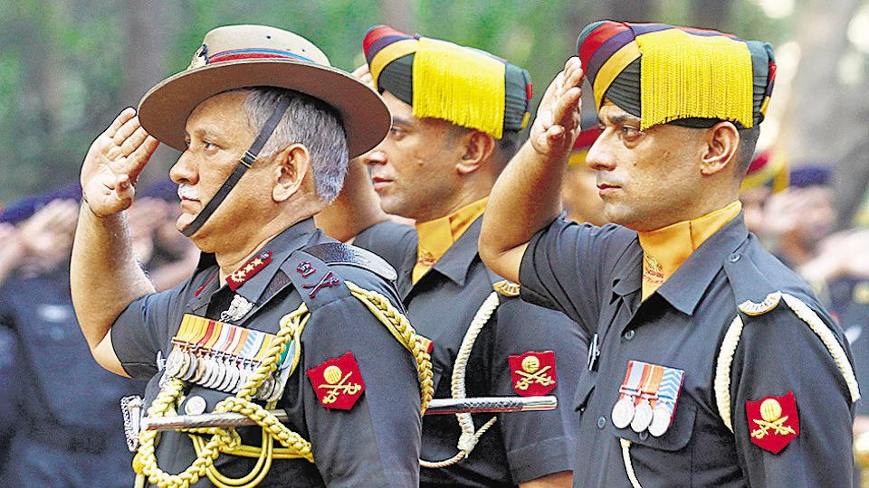 Lt Gen Bipin Rawat pays tributes to war martyrs during a function to commemorate 1971 Indo-Pakistan war victory, in Mumbai,  December 16, 2015.  Rawat has commanded a brigade in J&K and served in Arunachal Pradesh.