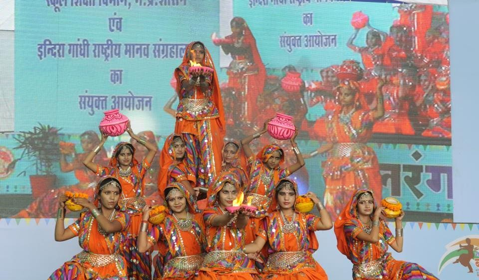 Students perform during Balrang at IGRMS in Bhopal on Monday.