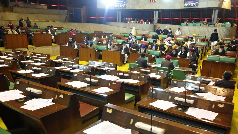 The House proceedings in process in absence of opposition members during the special session at Punjab Vidhan Sabha in Chandigarh on Monday.