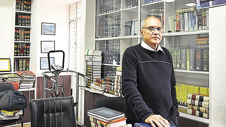 Lawyer Colin Gonzalves talks to HT at his office on Masjid Road in New Delhi.