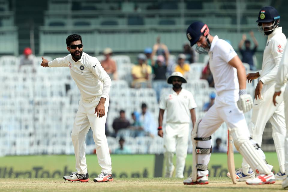 Ravindra Jadeja appeals against Alastair Cook on day 4 of the fifth and final India vs England Test in Chennai on December 20.