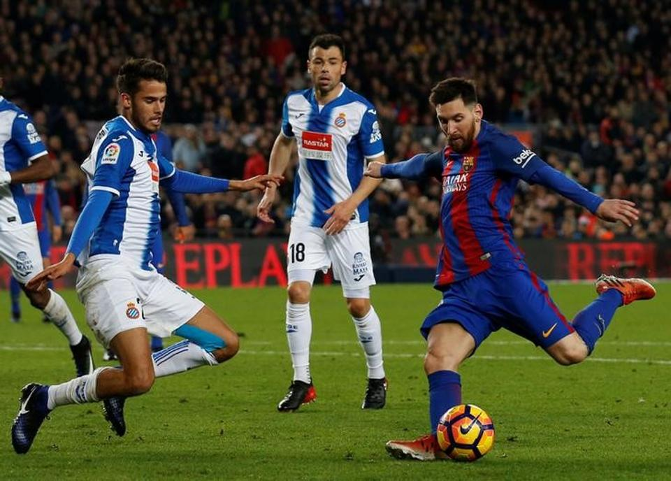 FC Barcelona's Lionel Messi in action during their La Liga match against Espanyol.