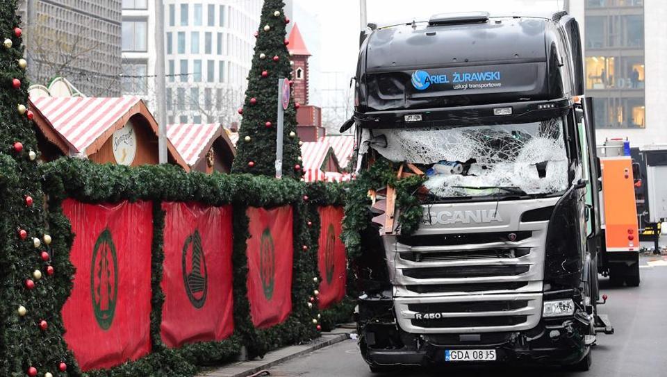 The truck that crashed into a Christmas market near the Kaiser-Wilhelm-Gedaechtniskirche on December 20.