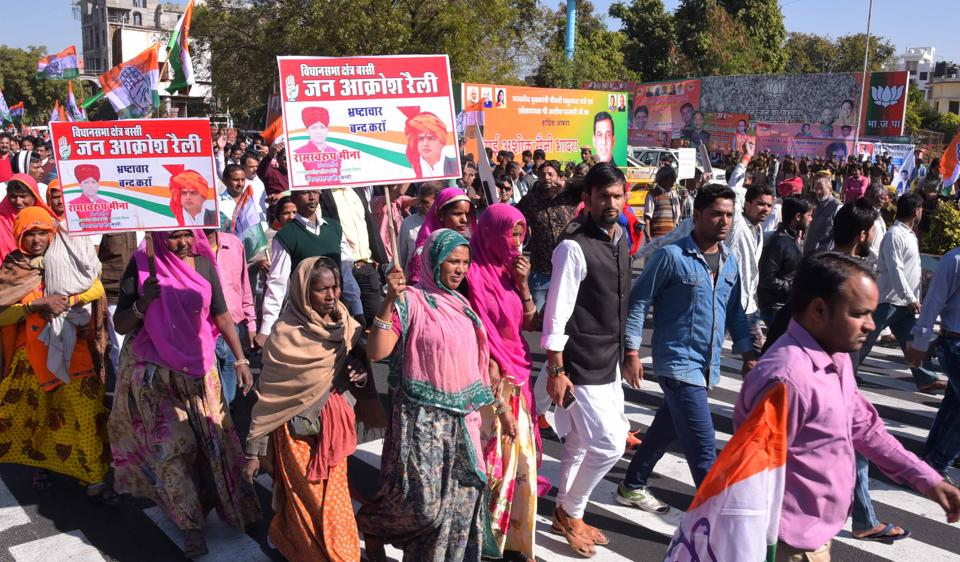 Congress supporters at a rally taken out against the Vasundhara Raje government in Jaipur on Tuesday.