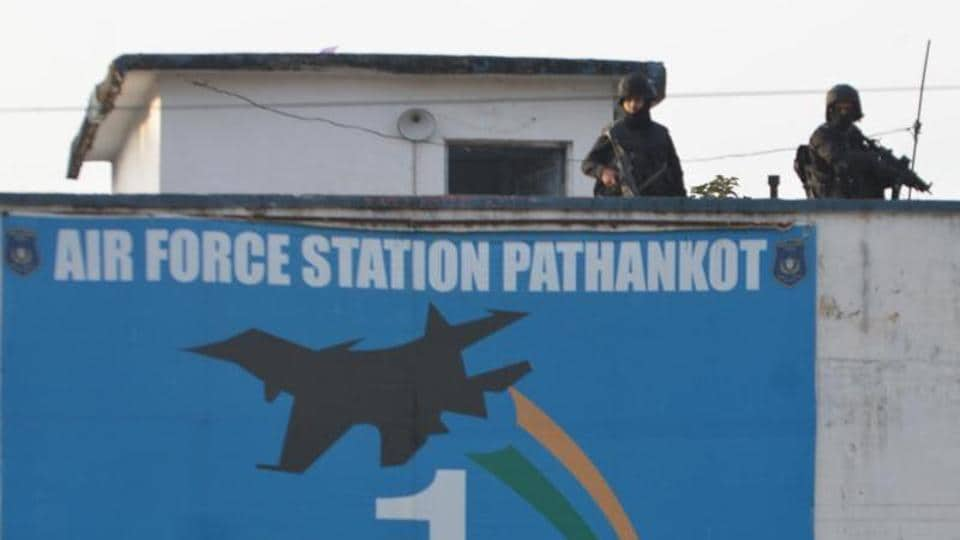Commando stand guard at Airbase during search operation at Airbase after Completion of Terrorist combing operation in Pathankot On Tuesday.