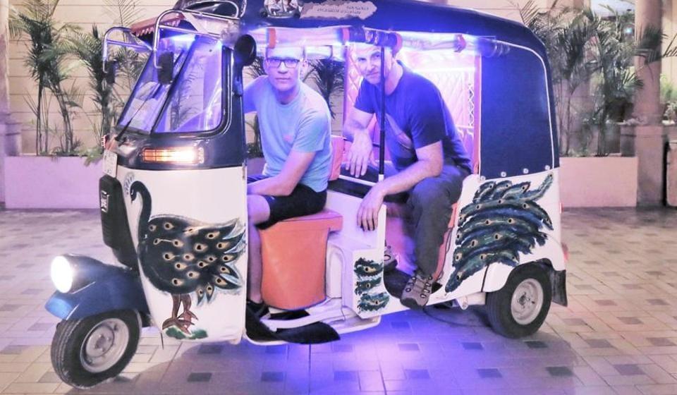 The autorickshaw that Dayan Muntz and Ron Montgomery were travelling in