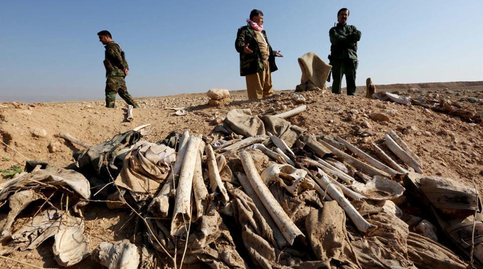 View of a mass grave in the town of Sinjar after it was recaptured by the Iraqi forces from ISIS.
