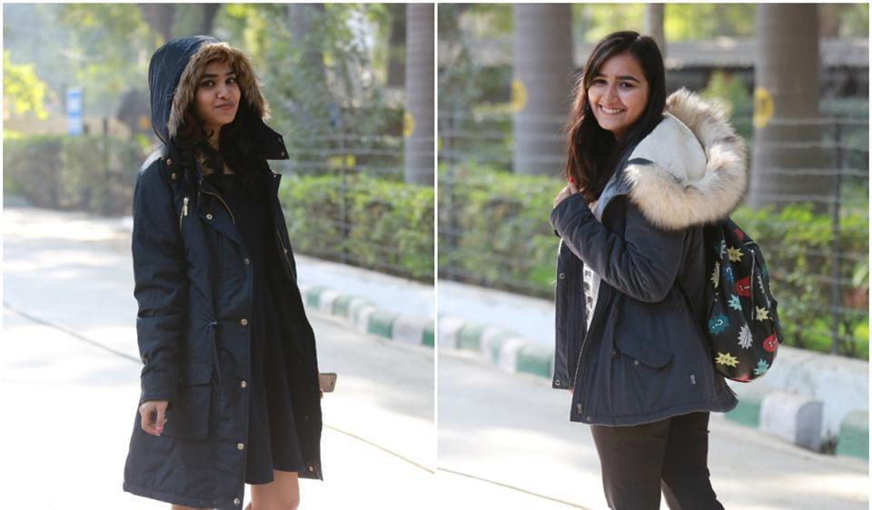 Delhi University students flaunt their winter ensemble.