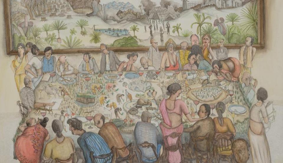 The War Room, Nityan Unnikrishnan, mixed media on paper