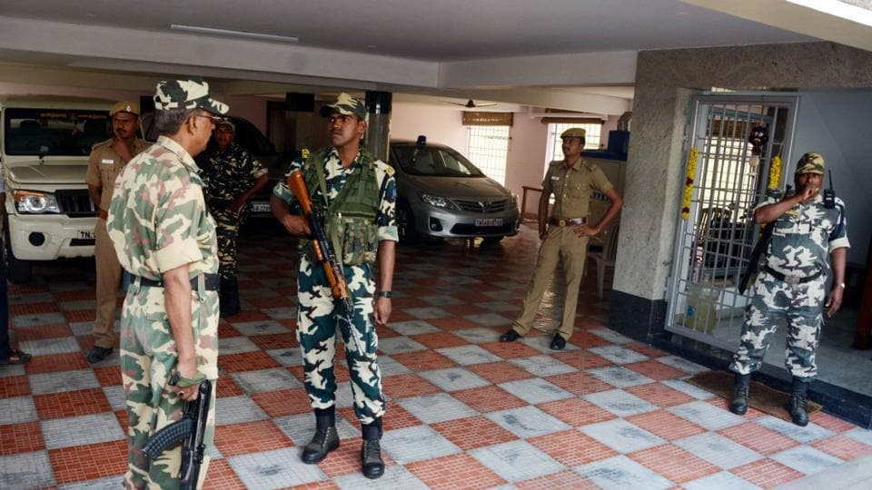 CRPF personnel deployed at the residence of Tamil Nadu chief secretary, P Rama Mohana Rao, on December 21, 2016.