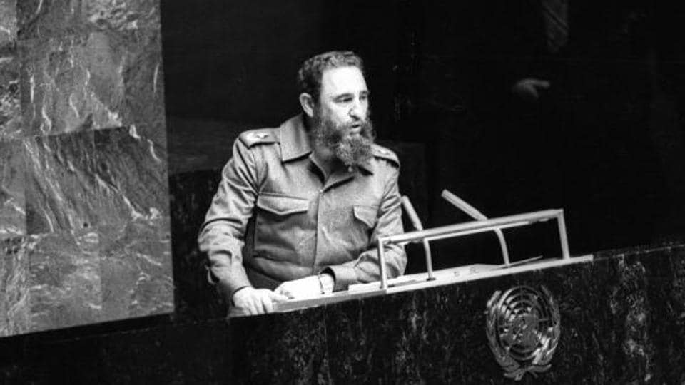 Castro giving a speech atUN General Assembly in 1979.He delivered a famous speech on the disparity between the world's rich and poor.