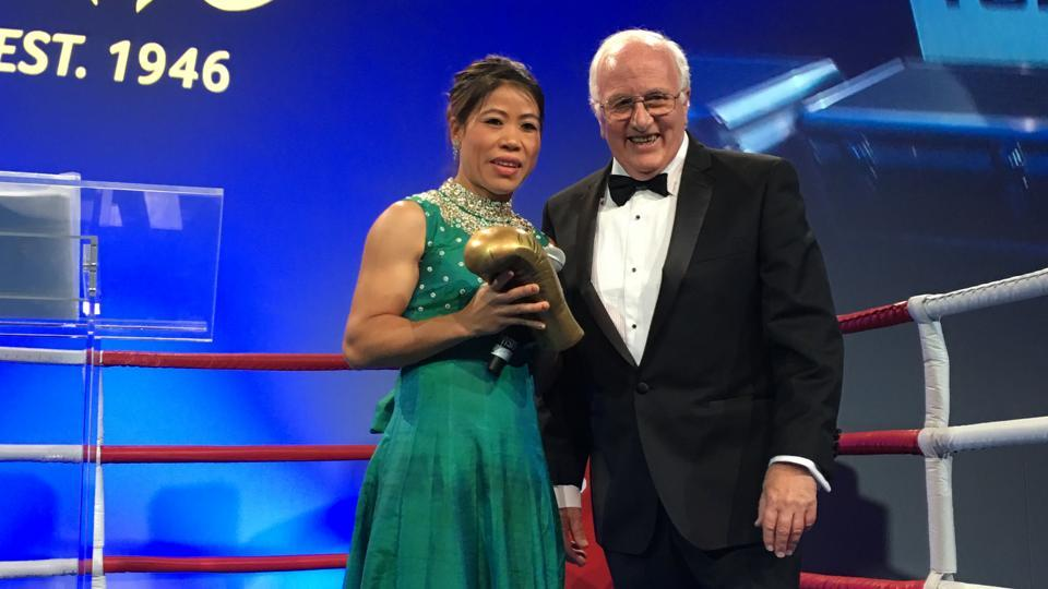 MCMary Kom receives the AIBA Legends Award during the 70th anniversary celebration of the International Boxing Federation (AIBA) in Montreux,Switzerland.