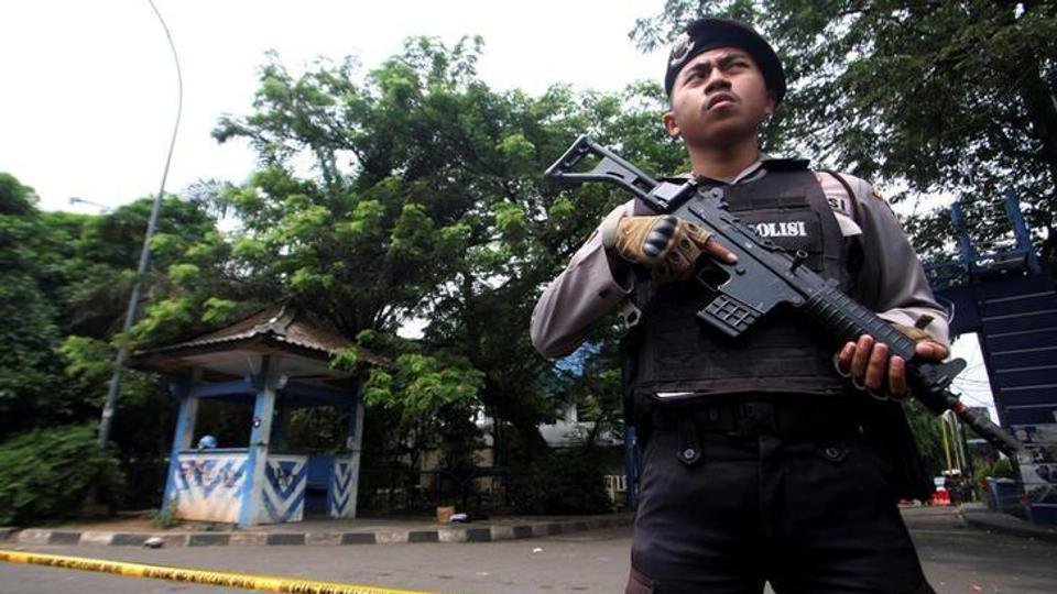 Indonesian anti-terrorism police killed three suspects after a gunfight at a house south of the capital, Jakarta.