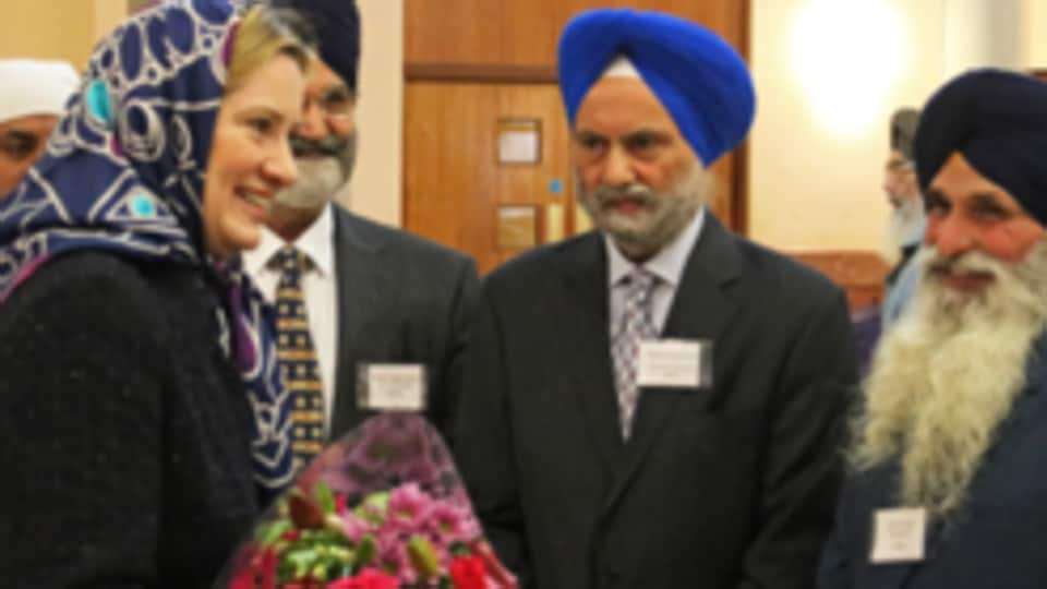 Home secretary Amber Rudd speaking to Sikhs in a Gurdwara in Southall on Wednesday.