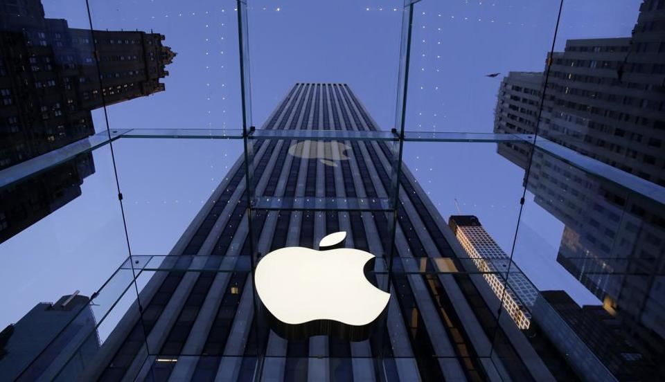A file photo showing the Apple logo at the company's Fifth Avenue store in New York.