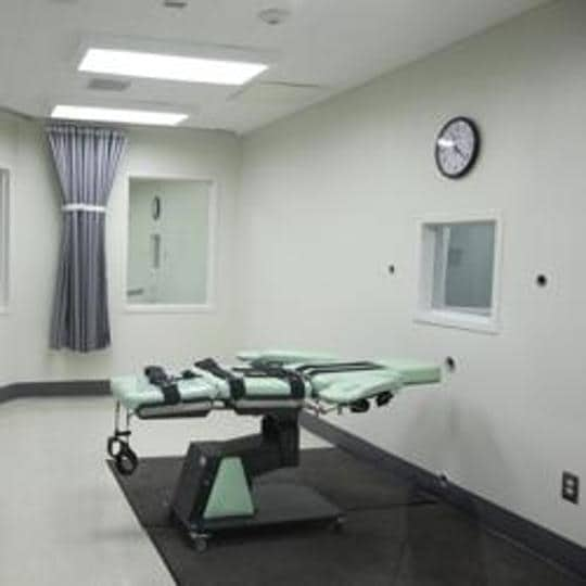 A death chamber of the new lethal injection facility at San Quentin State Prison in San Quentin, California.