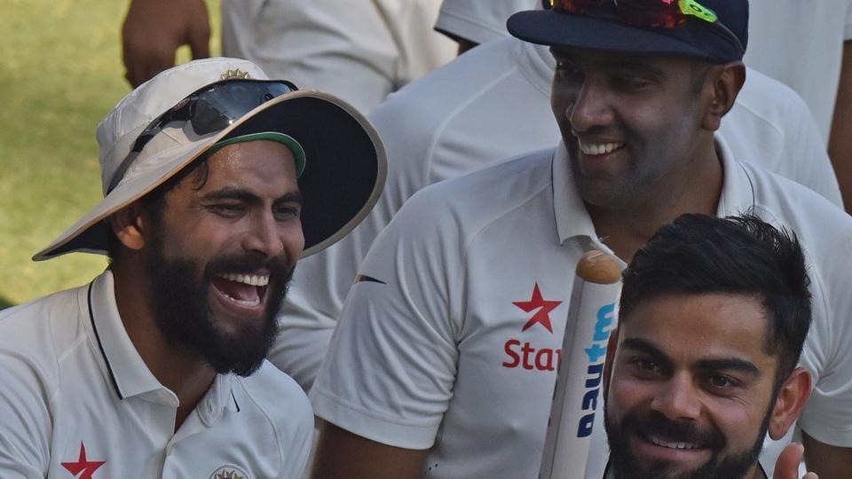 Ravindra Jadeja (from left), Ravichandran Ashwin and Virat Kohli after winning the fourth Test in Mumbai against England at Wankhede Stadium on December 12, 2016.