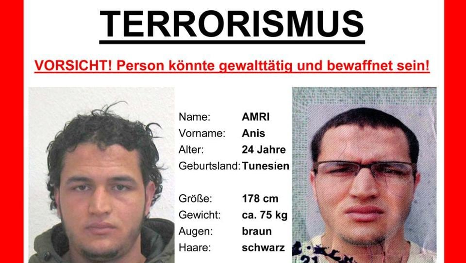 The wanted poster issued by German federal police shows 24-year-old Tunisian Anis Amri who is suspected of being involved in the fatal attack on the Christmas market in Berlin on Dec. 19, 2016.