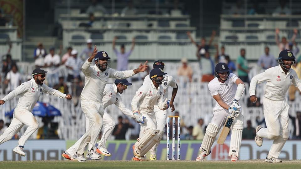 India cricket team celebrates after winning the Test series against England during the fifth day of the fifth Test match in Chennai, on Tuesday.