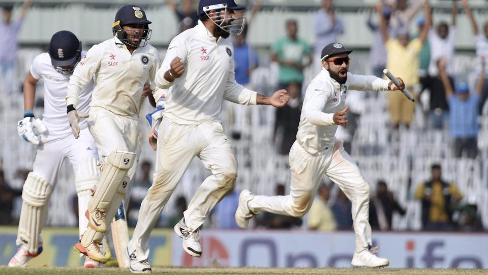India captain Virat Kohli and teammates celebrate after sealing the fifth Test against England at the MA Chidambaram Stadium in Chennai on Tuesday. India beat England 4-0 in the five-match series but the players will miss out on a a bonus as the BCCI is cash strapped thanks to the ongoing legal battle at Supreme Court against the Lodha Committee recommendations.