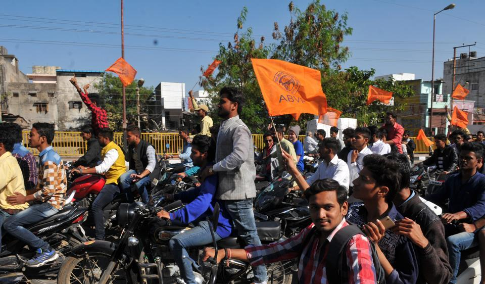 ABVP workers carried out bike rally from Government Arts and Commerce College, venue for the forthcoming national conference, to the Ahilya statue situated at Rajawada in Indore.