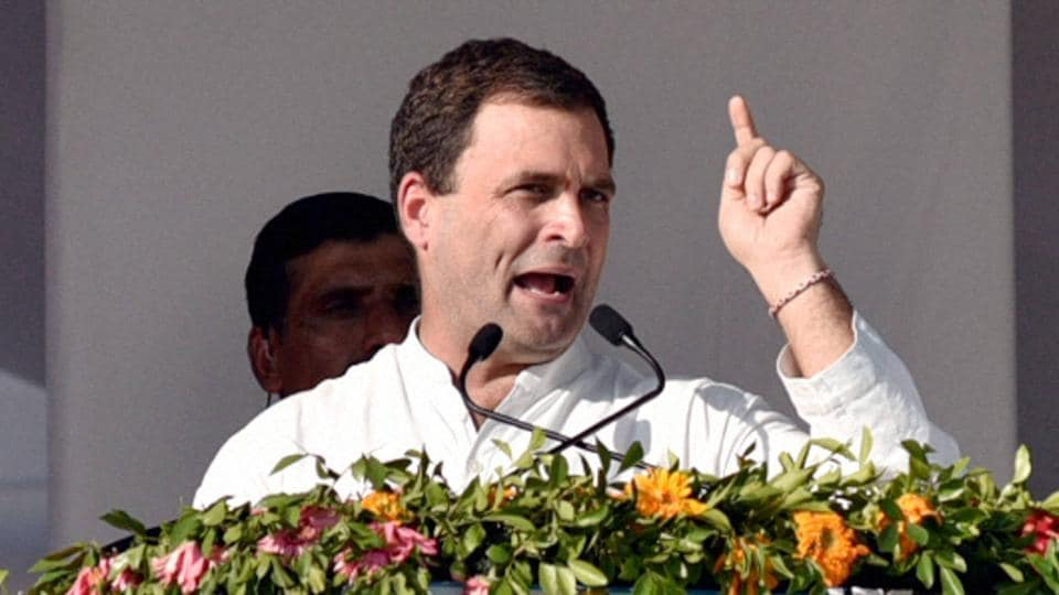 Congress vice president Rahul Gandhi addresses a public rally in Mehsana on Wednesday, Dec 21, 2016.
