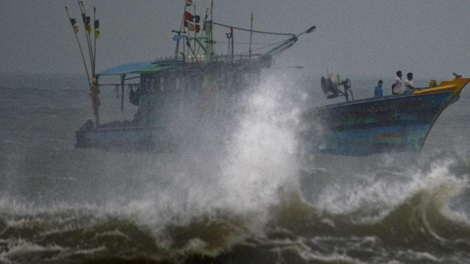 A fishing vessel on the coast of Chennai.