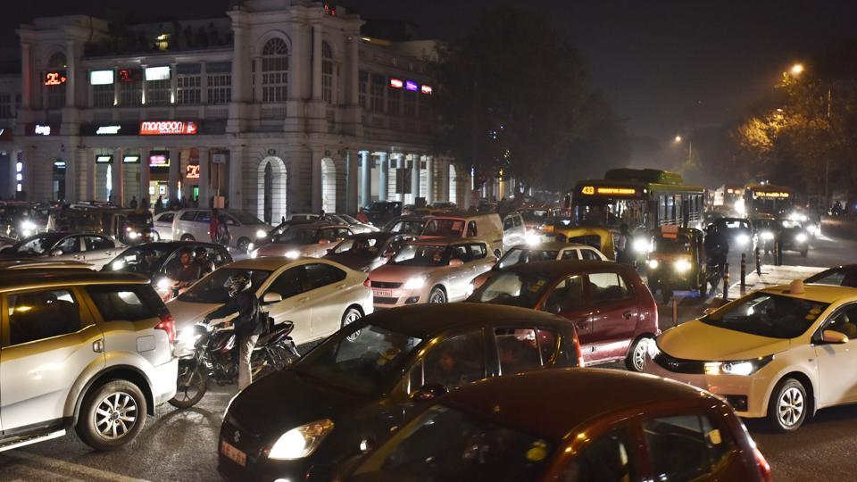 Traffic jam in the evening at Connaught Place outer circle in New Delhi.