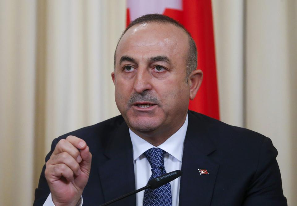 Turkish Foreign Minister Mevlut Cavusoglu speaks during a news conference after the talks with his Russian counterpart Sergei Lavrov and his Iranian counterpart Mohammad Javad Zarif in Moscow, Russia, December 20, 2016.