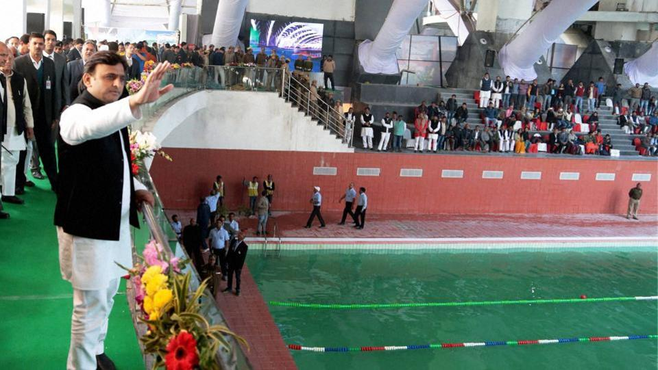 Uttar Pradesh chief minister Akhilesh Yadav at the launch of the newly constructed swimming pool at JP International Centre in Lucknow on Tuesday.