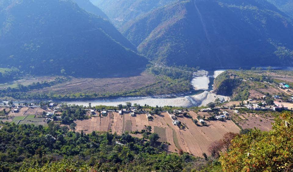 An aerial view of Bilkhet village in Pauri district.
