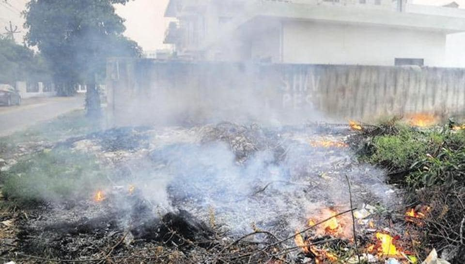 Waste being burned in an open plot in Gurgaon.