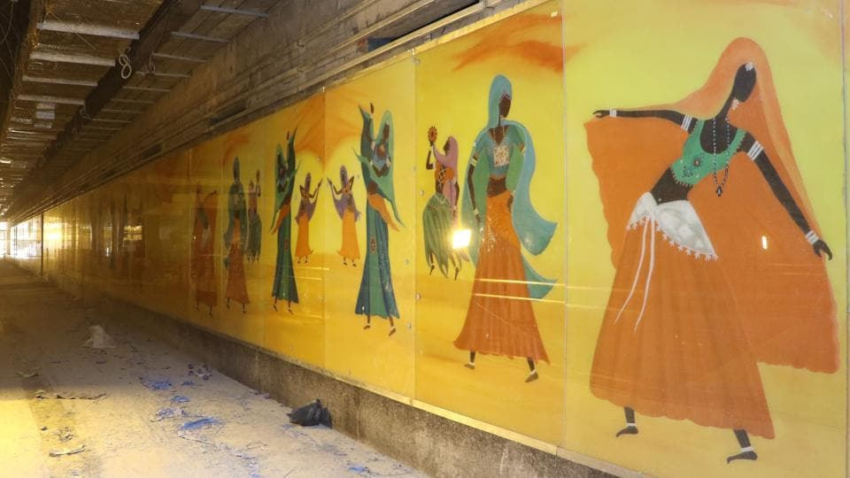 The first art panel was installed at the Bhikaji Cama Place Metro station this week.