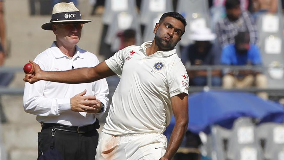 Ravichandran Ashwin bowls on day 1 of the fourth Test match between India and England held at the Wankhede Stadium, Mumbai on December 8. Ashwin was named ICC Cricketer of the year 2016 on Thursday