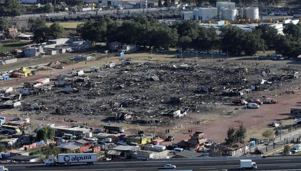 An aerial view shows the San Pablito fireworks market after an explosion, outside the Mexican capital on Tuesday, in Tultepec, Mexico, December 21, 2016.