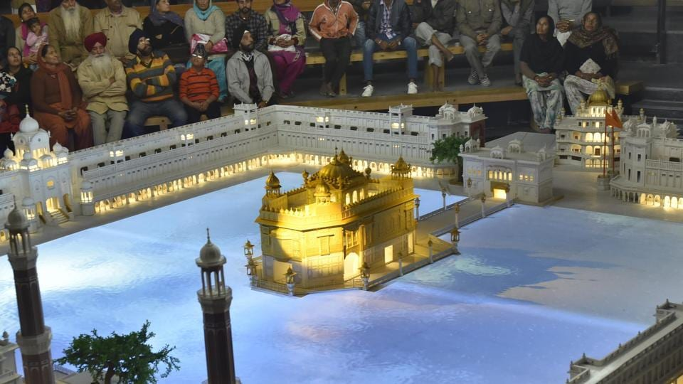 Visitors experiencing the newly opened hi­-tech basement of the Golden Temple plaza in Amritsar on Wednesday.