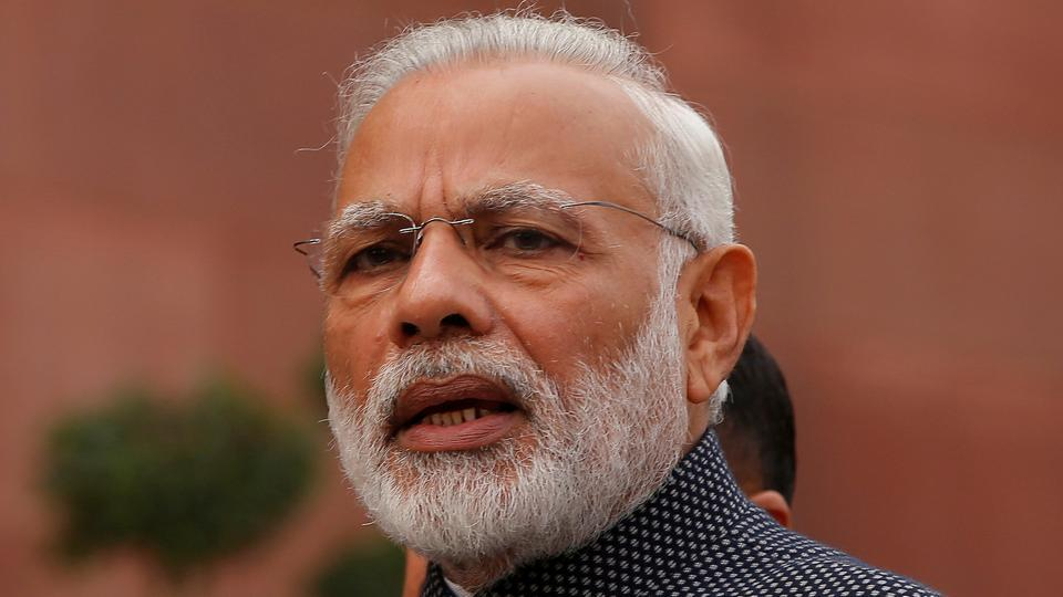 Prime Minister Narendra Modi speaks to the media inside the Parliament premises during the winter session.