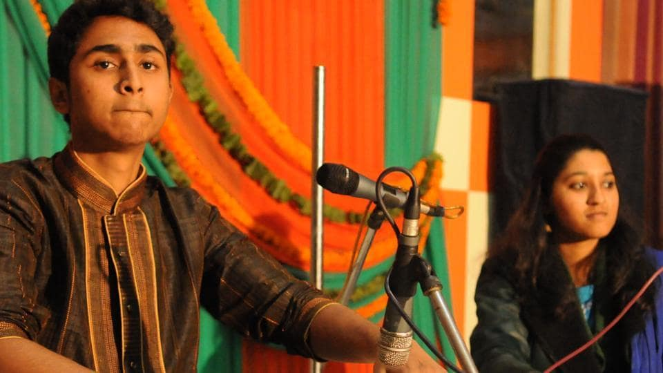 A young artiste performing 'teen taal' at the Harivallabh Sangeet Sammelan in Jalandhar on Wednesday.