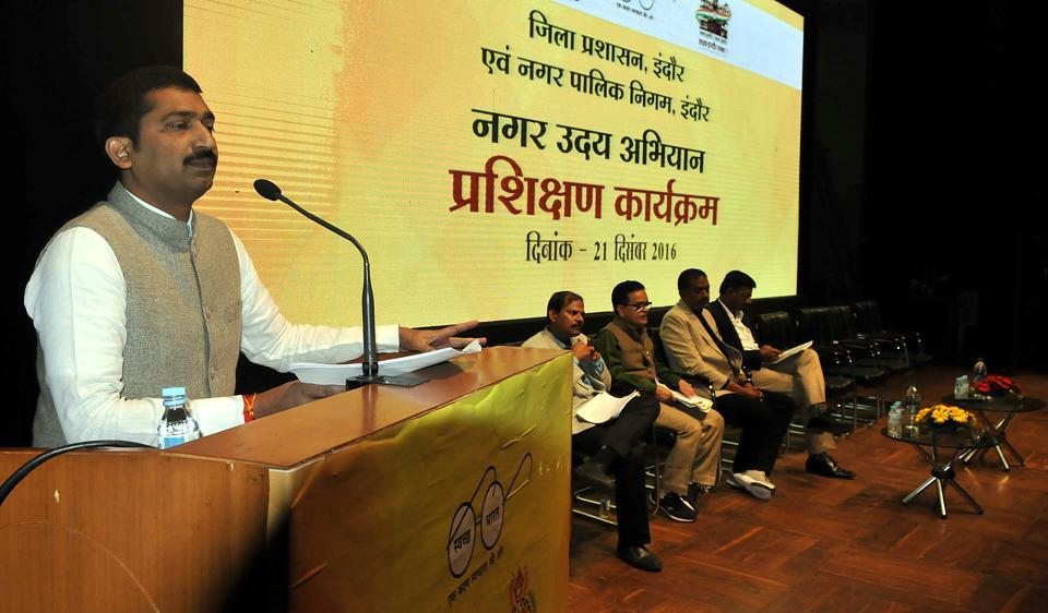 District collector P Narhari speaks at Nagar Uday Abhiyan training programme for IMC officials at Devi Ahilya Vishwavidhyalaya auditorium in Indore on Wednesday.