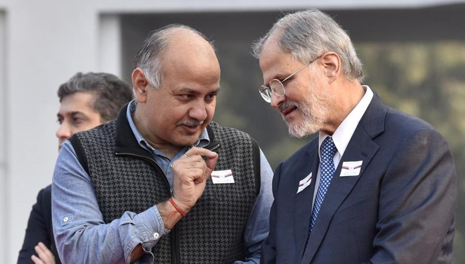 Lt. Governor of Delhi Najeeb Jung (Right)  with Manish Sisodia, Delhi's  deputy chief minister Manish Sisodia during a function  at Raj Niwas in Delhi, on Wednesday, December 7, 2016.